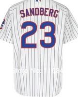Baseball Jersey Free Shipping Chicago Cubs 23# sandberg Embroidery Logos Men's White Stripe size:48-56