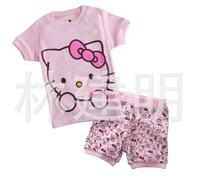 Hello kitty kids pajama sets,fashion summer girls sleepwear,toddler baby pyjamas,cute cartoon short sleeve children sleepwear