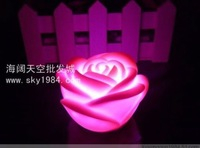10pcs/lot wholesale Romantic Colorful Gradual change LED Pink Flower Rose Night Light Free Shipping Promotion