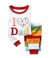 NEW!  I Love Dad Children Clothing Sets 100% Cotton Baby Boys Pajamas/sleepwear Clothes  Set  Sleeves Pajamas 6sets/lot