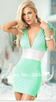 Free shipping 2014 Sexy Lingerie  Dress + G String Sleepwear,  Sexy Nightgowns,Sexy Pajamas 2 Colors Green/Black #AN7