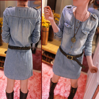 Free Shipping 2014 New Korean Version Was Thin Denim Pullover Dress Slim Thin Section Autumn Denim Piece Shorts Suit