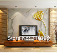 Free shipping 3D stereoscopic golden lotus lotus living room sofa TV backdrop wallpaper