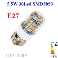 20pcs/lot 5050 SMD 30LED 5.5W E27 E14 110V 120V 220V 230V 240V Corn Bulb Light Lamp LED Lighting White/Warm White Glass Cover