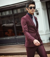 2014  suit groom wedding dress  suits Wine red blazer suit  for men