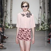 Runway 2014  Amazing Silk Blouse+ Printed Short  (1 set)   shorts suits for women  140308HA01