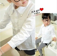 2014 spring pearl female child long-sleeve shirt girl's shirt