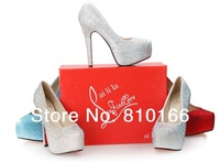 140&110mm high heel shoes women 2014 platforms rhinestone platform pumps high heels wedding shoes woman red bottom shoes