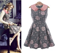 Free Shipping 2014 Spring women fashion rose printed sweet peter pan collar dress