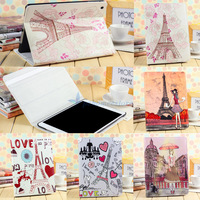 Free Shipping Paris Style Eiffel Tower Retro Style Magnetic Smart Cover Leather Case with Stand for ipad 2 3 4