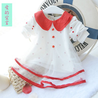 2014 spring Summer  Baby girl dresses  Dot chiffon / cotton dresses  Girls long-sleeved T-shirt  Baby Clothes  Free shipping
