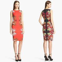 Free Shipping New Arrival 2014 Amazing Printed Sleeveless Slim Dress 140308CT03