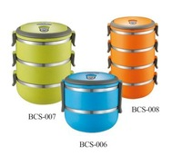 2 Layers 1.4L High Quality Stainless Steel Thermal Lunch Box / Keep Warm Food Container with PP Cover outside and Handle