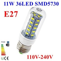 50pcs/lot 5730 SMD 36LED 11W E27 E14 110V 120V 220V 230V 240V Corn Bulb Light Lamp LED Lighting White/Warm White