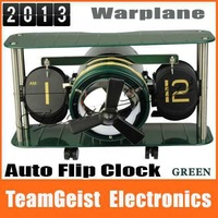 8pcs/lot Creative German mechanical aircraft head flip clock Warplane Flip Table Clock Gray / Army Green Auto Rotation Propeller