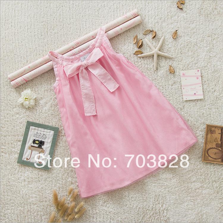 Free shipping 2014 new Sleeveless Pink Baby girls cotton summer dress Children's ball gowns Kids summer cotton garments(China (Mainland))