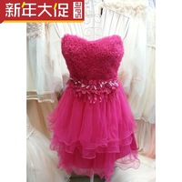 Evening dress short tube top design sweet layered dress short design the banquet dress princess dress costume