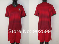 New arrival 14/15 wc Portugal home red  thai quality soccer jersey+ shorts kits,Portugal soccer uniforms,size:S-XL