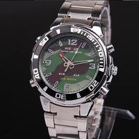 WEIDE Men's Army Military Date Alarm Analog LED Black Silver Sport Quartz Wrist Watches