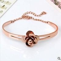 Flower Cuff Bangle Chain Bracelet Jewelry Titanium Stainless Steel 18k Rose Gold Plated Bangle Luxury Brand Women Acessories