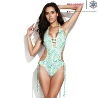 RELLECIGA 2014 New Palm Print Fringe One Piece Swimsuit Center Front Opening Push Up Bathing Suit Triangle Top Monokini