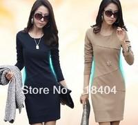 wholesale Women's OL Long-sleeve Basic dress Elegant Plus Size Slim One-piece Dress nevy blue red khaki S M L XL XXL WC206