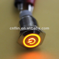 200pc/lot Car Boat Orange Power/Angel Eye 12V LED Button Metal Switch 16mm Push ON/OFF