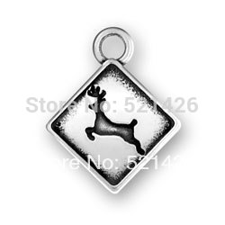 HOT SALE Antique Silver Coin Bezel Fashion Animal Series Of Deer Crossing Sign Charms 184378 50pcs/lot(China (Mainland))
