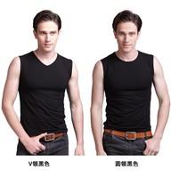 Men's sports tank tops male bodybuilding broad shoulders bottoming summer new vest V neck/Round Neckl vest free shipping
