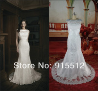 Fashionable Off-white Mermaid Jewel Neck Cap Sleeve Appliques Court Train Wedding Dress Patterns