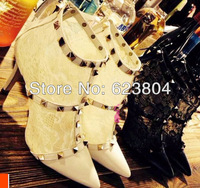 2014 latest lace high heel shoes pointed toe pump free shipping cheap brand heels stud design