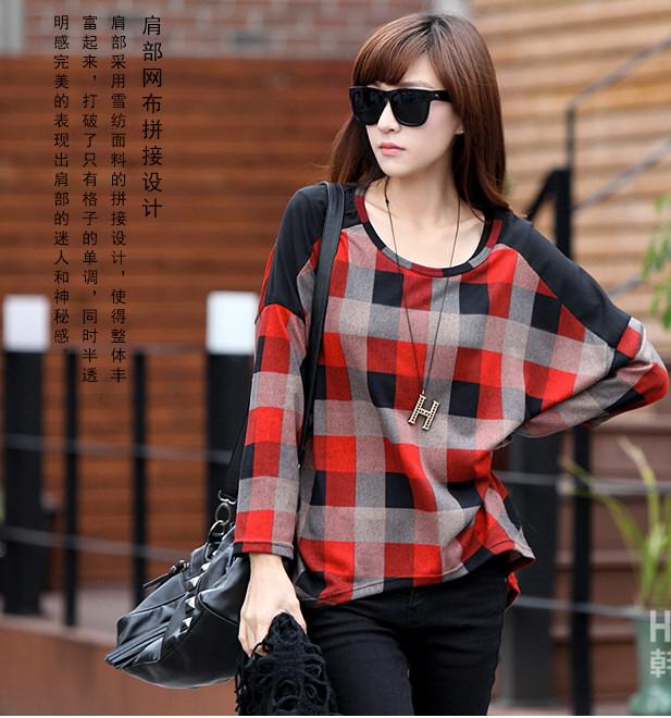 vintage plaid grid tshirt for women loose plus size long-sleeve ...