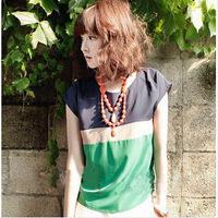 New women chiffon Blouse top lady Sheer Batwing Short Sleeve stripe color plus Loose size fashion style Shirt top blouse SL-05