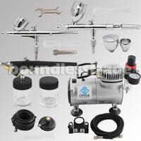 OPHIR Professional 3 Gun Airbrush Dual-Action & Single-Action Kits Air Compressor Hobby Set 110V,220V _AC089+AC004A+AC071+AC006