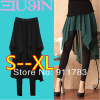 New Arrival 2014 Spring Faux Two Piece Basic Yarn Culottes Leggings Plus Size Chiffon Skorts Pants KZ 21