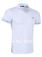 2014 brand men Short Sleeve Tee v Neck Slim-fit Fashion Cotton T Shirts,Wholesale, S-3XL with 2 Free Shipping