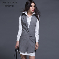 2014 spring female slim stripe slim fashion suit collar design long outerwear vest