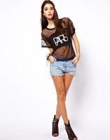 2014 New Women Fashion Punk Style Gauze Patchwork PARIS Letter Print Rock T shirt, black, xs s m l xl xxl,KL021