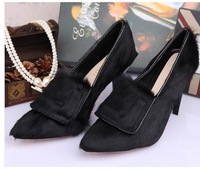 2014 Free shipping newest designer horsehair women brand pumps mid high heel hoof heels shoes for woman spring autumn