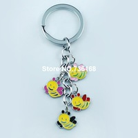 Free shipping abalorio abeja creative bees keyring jewelry colorful enamel bees charms wholesale fashion metal bees trinket