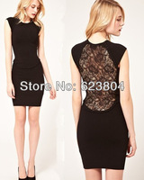 2014 free shipping black dress lace cheap brand bandage dress lace design on the back