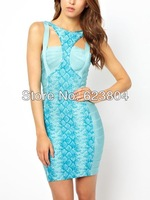 2014 free shipping bodycon dresses spandex cheap brand bandage dress cut-out snakeskin design dress