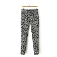 New fashion women pencil pants casual vintage print long trousers silm autumn winter sexy lady pants design S-XL