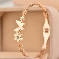Luxury bowknot insert Crystal Imitated diamond flower Bangles Titanium Pink Rose Gold Bracelet Bangle Jewelry Women Acessories