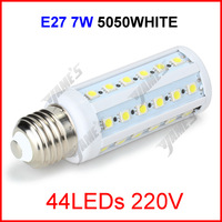 ( 100 pcs/lot ) E27 220V 7W 44 LEDs 5050 SMD LED Corn Light Lamp Corn Bulb White/Warm White Lighting Wholesale