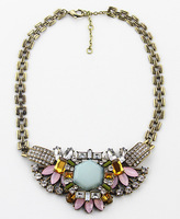 Free Shipping 3PCS/Lot retro BOHO exaggerated crystal rhinestone necklace exoticness chokers necklace jewelry N1335-042