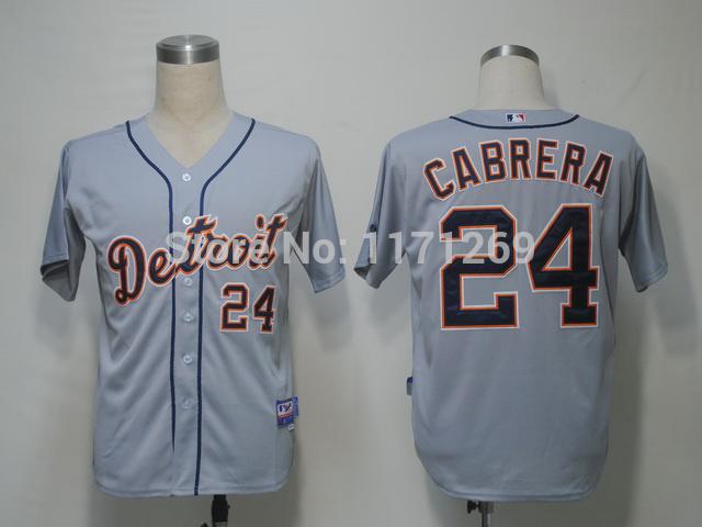 Free shipping Discount Baseball jerseys tiger cabrera detroit tigers 24 grey jersey baseball uniform(China (Mainland))