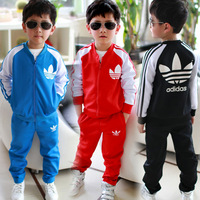 NEW children's spring and autumn clothing child stand collar fashion sports set 2 - 11 Year-old sports set