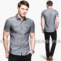 New 2014 Fashion KUEGOU Brand Men's Short Sleeve Shirt Comfortable Casual Slim Fit Shirts Male Linen Texture Shirt for Summer