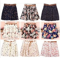 XS-XXL,12 Colors, 2014 Women Hot Sale Cute Pleated Floral & Dot Chiffon Mini Skirt without  belt